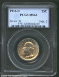 Washington Quarters: , 1932-D 25C MS63 PCGS. Extensive die polish lines on ...