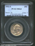 Washington Quarters: , 1932-S 25C MS63 PCGS. Originally shaded in a blend of ...