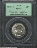 Washington Quarters: , 1935-D 25C MS66 PCGS. Golden-brown, yellow-green, and ...