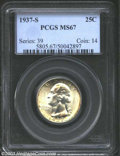 Washington Quarters: , 1937-S 25C MS67 PCGS. The reverse periphery has a band of ...