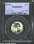 Washington Quarters: , 1950-S 25C MS67 PCGS. Well struck and highly lustrous, ...