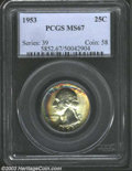 Washington Quarters: , 1953 25C MS67 PCGS. This Superb Gem is one of the most ...