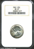 Washington Quarters: , 1961 25C MS67 NGC. An absolutely marvelous Superb Gem, ...