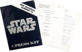 Star Wars (20th Century Fox, R-1978). Press Kit (Multiple Pages). Science Fiction