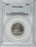 Proof Seated Quarters: , 1867 25C PR62 PCGS. PCGS Population (35/97). NGC Census: (15/96).Mintage: 625. Numismedia Wsl. Price for NGC/PCGS coin in ...