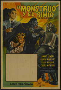 "The Monster and the Ape (Columbia, 1945). Argentinean Poster (29"" X 43""). Serial"