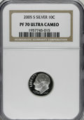 Proof Roosevelt Dimes: , 2005-S 10C Silver PR70 Deep Cameo NGC. . PCGS Population (76/0).Numismedia Wsl. Price for NGC/PCGS coi...