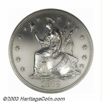1872 T$1 Commercial Dollar, Judd-1212, Pollock-1352, R.6-7--Improperly Cleaned--NCS Proof. The obverse has Longacre's de...