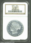 1879 $1 Metric Dollar, Judd-1624, Pollock-1820, R.7, PR63 NGC. The obverse shows Liberty facing left, her hair tied in a...