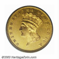 Proof Gold Dollars: , 1862 G$1 PR64 Deep Cameo PCGS. This 1860s proof issue ...