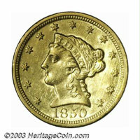 1850-C $2 1/2 MS60 Cleaned Uncertified. Winter 12-G. Only 9,148 pieces of this date were struck at Charlotte, although i...