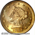 Liberty Quarter Eagles: , 1893 $2 1/2 MS66 PCGS. Produced in limited numbers (30,...
