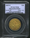 Liberty Eagles: , 1845-O $10 VF30 PCGS. The date is boldly repunched to the ...