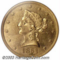 Liberty Eagles: , 1851 $10 MS61 NGC. The 1851 Ten Dollar must have seen a ...