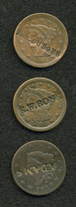 Counterstamps, Trio of Counterstamped U.S. Large Cents.... (Total: 3 coins)