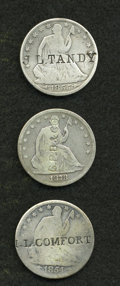 Counterstamps, Trio of Counterstamped U.S. Seated Liberty Halves.... (Total: 3 coins)