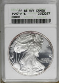 1997-P $1 Silver Eagle PR66 Deep Cameo ANACS. . NGC Census: (9/5155). PCGS Population (14/3366). Numismedia Wsl. Price f...
