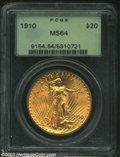 Saint-Gaudens Double Eagles: , 1910 $20 MS64 PCGS. Soft, frosted mint luster covers both ...