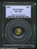 California Fractional Gold: , 1853 50C Liberty Round 50 Cents, BG-428, R.4, MS61 PCGS. ...