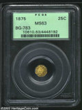California Fractional Gold: , 1875 25C Indian Octagonal 25 Cents, BG-783, R.7, MS63 PCGS.