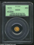 California Fractional Gold: , 1870 25C Liberty Round 25 Cents, BG-808, R.4, MS65 PCGS. ...