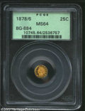 California Fractional Gold: , 1878/6 25C Indian Round 25 Cents, BG-884, R.7, MS64 PCGS. ...