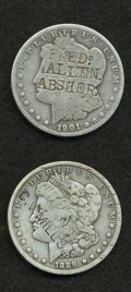 Counterstamps, Pair of Counterstamped Morgan Silver Dollars.... (Total: 2 coins)