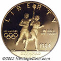 1984-W G$10 Olympic Gold Ten Dollar PR70 Deep Cameo PCGS. This modern Commemorative was designed by John Mercanti and Ja...