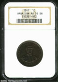Coins of Hawaii: , 1847 1C Hawaii Cent AU55 NGC. Plain 4, 13 berries. A ...