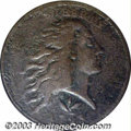 Errors: , 1793 1C Wreath Cent--Vine and Bars--Obverse Half of a Split ...