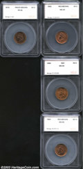 Additional Certified Coins: , 1864 1C Bronze Cent MS65 Red and Brown SEGS (MS64 Red and ... (4coins)