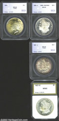 Additional Certified Coins: , A Silver Dollar grouping that includes: 1880-S $1 MS65 ... (4coins)