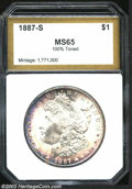 Additional Certified Coins: , 1887-S $1 Morgan Dollar MS65 100% Toned PCI (MS64). The ...