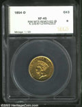 Additional Certified Coins: , 1854-D $3 Three Dollar XF45 Rim Mounts Removed at K-3, 6, 9,...