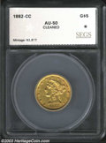 Additional Certified Coins: , 1882-CC $5 Half Eagle AU50 Cleaned SEGS (AU50 Cleaned). ...