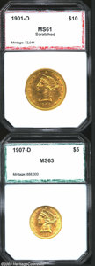 Additional Certified Coins: , 1907-D $5 Half Eagle MS63 PCI (MS62), a bright second ... (2 coins)