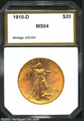 Additional Certified Coins: , 1910-D $20 Double Eagle MS64 PCI (MS63). A lustrous and ...