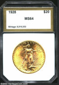 Additional Certified Coins: , 1928 $20 Double Eagle MS64 PCI (MS63). A bright ...