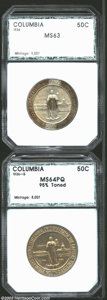 Additional Certified Coins: , 1936 50C Columbia Half Dollar MS63 PCI (MS64), russet tab ... (2 coins)