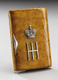 Silver Smalls:Cigarette Cases, Russian Karelian Birchwood Imperial Presentation Cigarette Case.Circa 1890 . The cover applied with the conjoined Cyr...