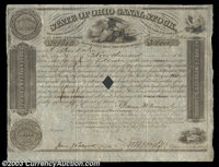 State of Ohio Canal Stock A 1845 $4000 bond bearing 6% interest. Multiple vignettes depicting an eagle and allegorical f...
