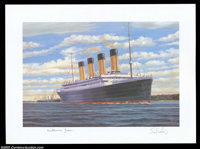 Titanic Autographed Prints A group of five color prints, all identical, of the Titanic, which struck an iceberg on th