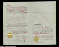 Charles Crocker - Central Pacific Rail Road (California) A scarce legal size deed in four pages signed on page 2 by Cha...