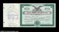 Walt Disney - Walt Disney Incorporated (California) This 50 share certificate is issued to and signed on the stub Walt...