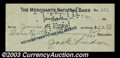 Stocks and Bonds:Certificates with Significant Autographs, Jack London - Signed Check