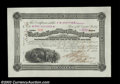 North Horn Silver Mining Company (New York) A 1881 certificate for 100 shares portraying a scene of miners at work. This...