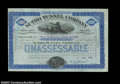 Sutro Tunnel Company (California) An especially attractive certificate in blue and black issued in 1886. There is at top...