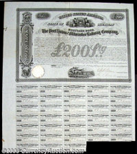 Port Huron and Milwaukee Railway Company (Michigan) A 1856 bond for 200 Pounds Sterling bearing 7% interest. There is a...