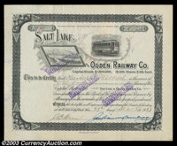 Salt Lake and Ogden Railway Company (Utah) A 1923 dated certificate litho in black on white with a vignette of a streetc...