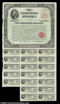 $1,000 United States Bearer Bond. Issued on September 15, 1943, with a due date of December 15, 1969, this $1,000 bond i...